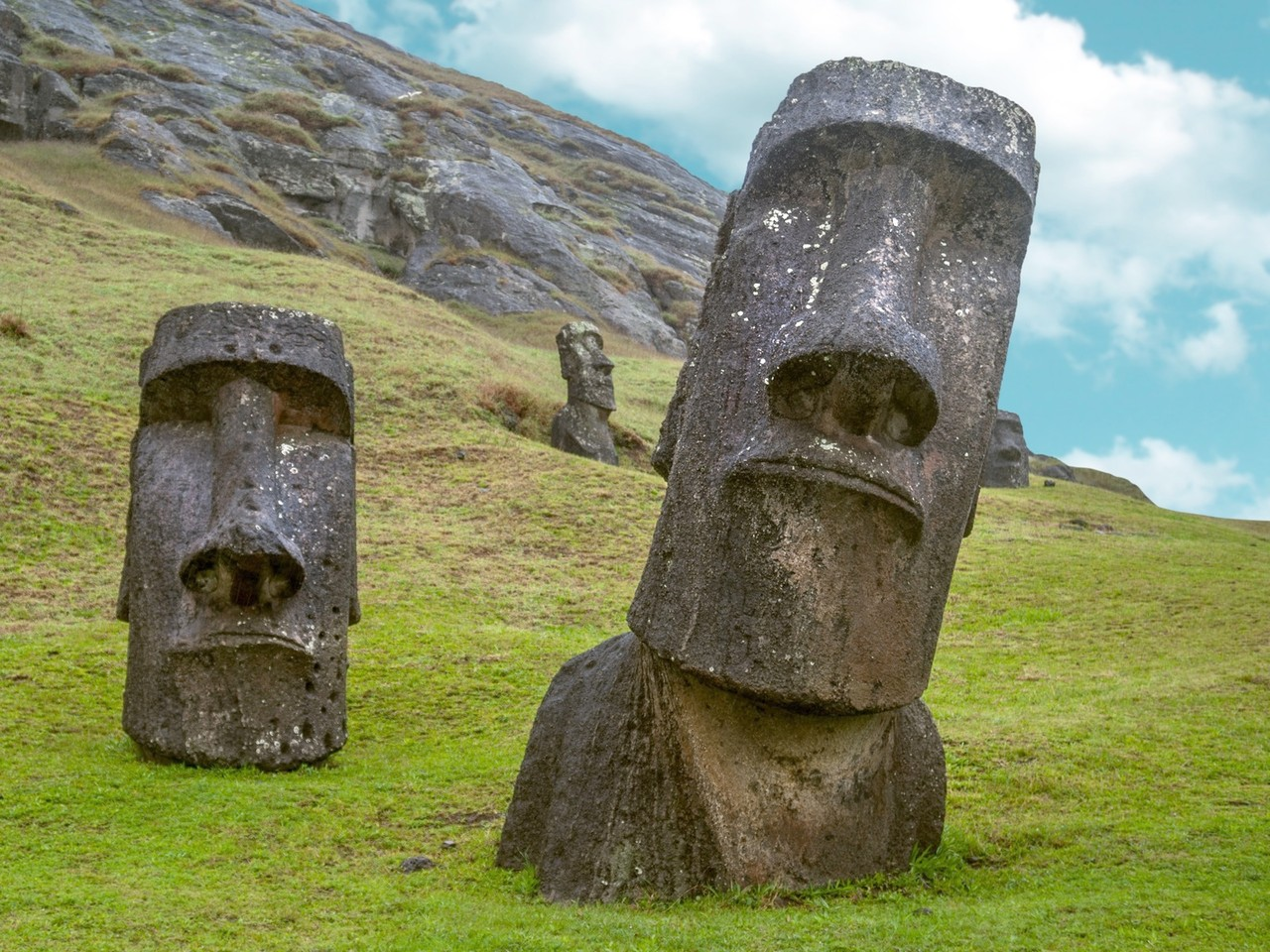 Giant Stone Heads On Easter Island