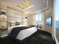 Norwegian Bliss - The Haven Deluxe Owner's Suite mit großem Balkon - Schlafbereich